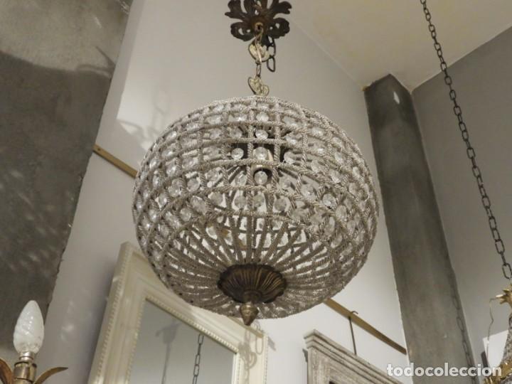 Antigüedades: LAMPARA GLOBO DE CRISTALES Y BRONCE. TENGO OTRA MAS GRANDE - Foto 4 - 167138392