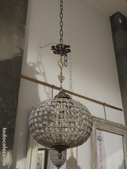 Antigüedades: LAMPARA GLOBO DE CRISTALES Y BRONCE. TENGO OTRA MAS GRANDE - Foto 5 - 167138392