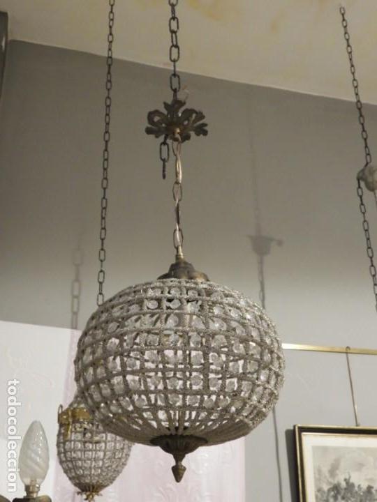 Antigüedades: LAMPARA GLOBO DE CRISTALES Y BRONCE. TENGO OTRA MAS GRANDE - Foto 6 - 167138392