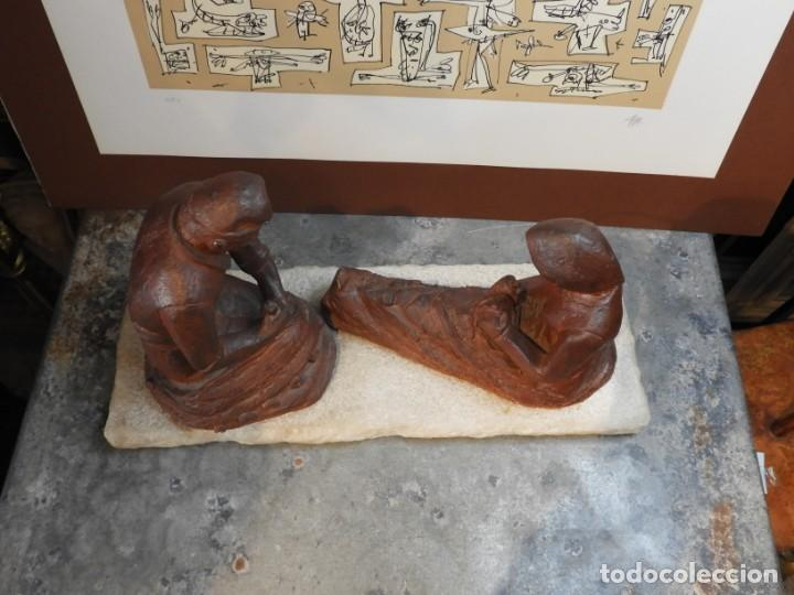 Antigüedades: FIGURA DE BARRO TONO OXIDO DE DOS ANCIANOS CATALANES - Foto 8 - 167172828