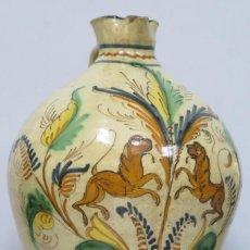 Antigüedades: GRAN JARRA ALCUZA DE CERAMICA. PUENTE DEL ARZOBISPO. CON LEYENDA BIBA MI DUEÑO. SIGLO XIX. GRANDE. Lote 167218100