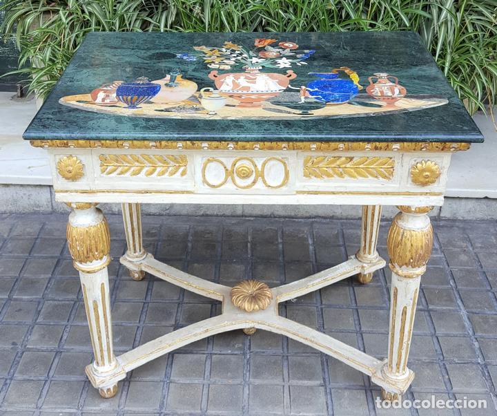 CONSOLA ESTILO LUIS XVI. MADERA TALLADA. POLICROMADA. MÁRMOL. ESPAÑA. MEDIADOS SIGLO XVIII (Antigüedades - Muebles Antiguos - Consolas Antiguas)