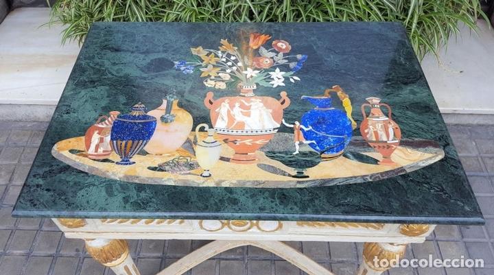 Antigüedades: CONSOLA ESTILO LUIS XVI. MADERA TALLADA. POLICROMADA. MÁRMOL. ESPAÑA. MEDIADOS SIGLO XVIII - Foto 2 - 167381776