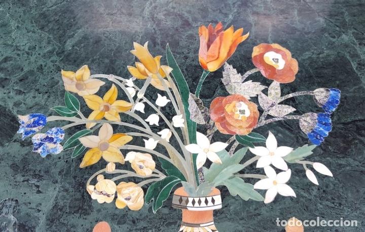 Antigüedades: CONSOLA ESTILO LUIS XVI. MADERA TALLADA. POLICROMADA. MÁRMOL. ESPAÑA. MEDIADOS SIGLO XVIII - Foto 3 - 167381776