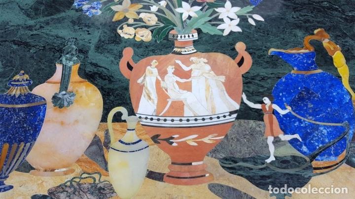 Antigüedades: CONSOLA ESTILO LUIS XVI. MADERA TALLADA. POLICROMADA. MÁRMOL. ESPAÑA. MEDIADOS SIGLO XVIII - Foto 4 - 167381776