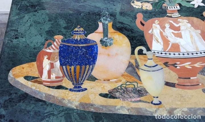 Antigüedades: CONSOLA ESTILO LUIS XVI. MADERA TALLADA. POLICROMADA. MÁRMOL. ESPAÑA. MEDIADOS SIGLO XVIII - Foto 5 - 167381776
