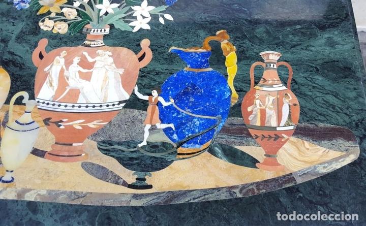 Antigüedades: CONSOLA ESTILO LUIS XVI. MADERA TALLADA. POLICROMADA. MÁRMOL. ESPAÑA. MEDIADOS SIGLO XVIII - Foto 6 - 167381776