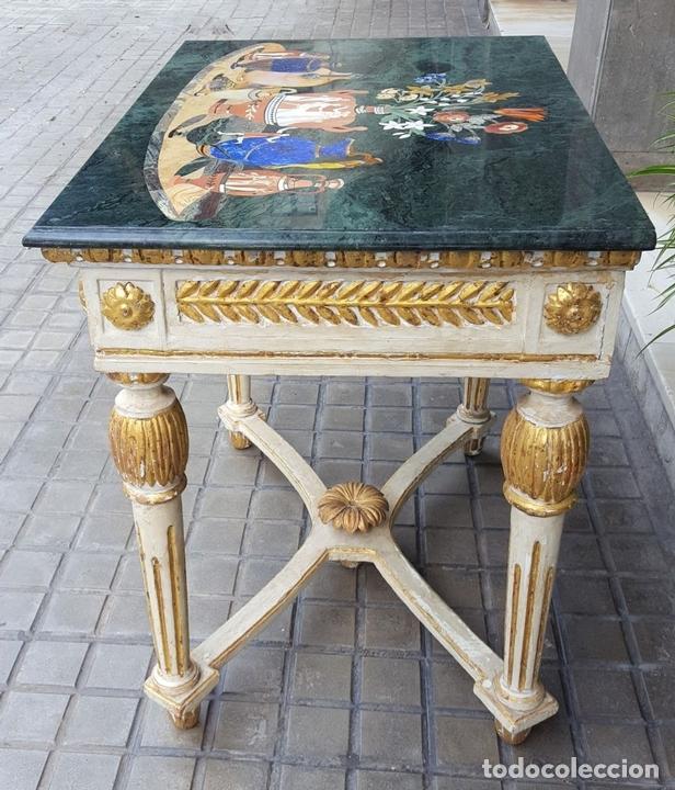 Antigüedades: CONSOLA ESTILO LUIS XVI. MADERA TALLADA. POLICROMADA. MÁRMOL. ESPAÑA. MEDIADOS SIGLO XVIII - Foto 8 - 167381776