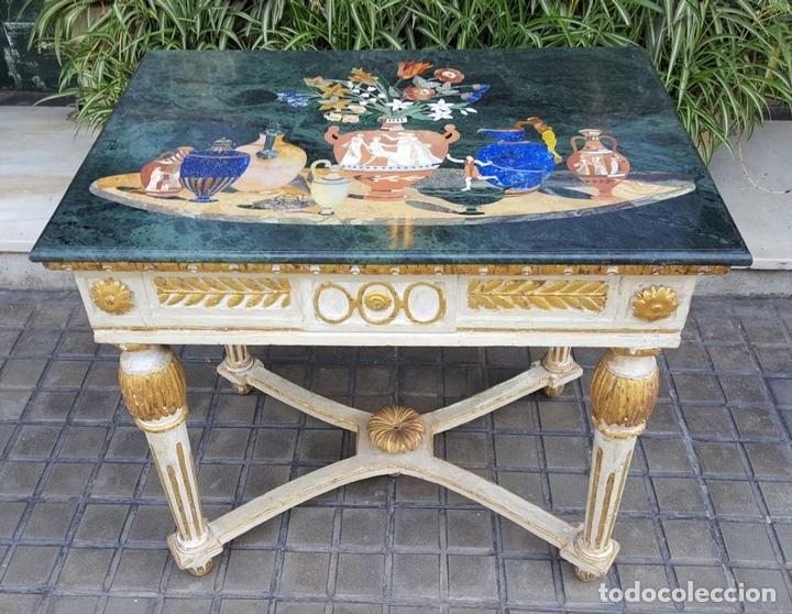 Antigüedades: CONSOLA ESTILO LUIS XVI. MADERA TALLADA. POLICROMADA. MÁRMOL. ESPAÑA. MEDIADOS SIGLO XVIII - Foto 11 - 167381776