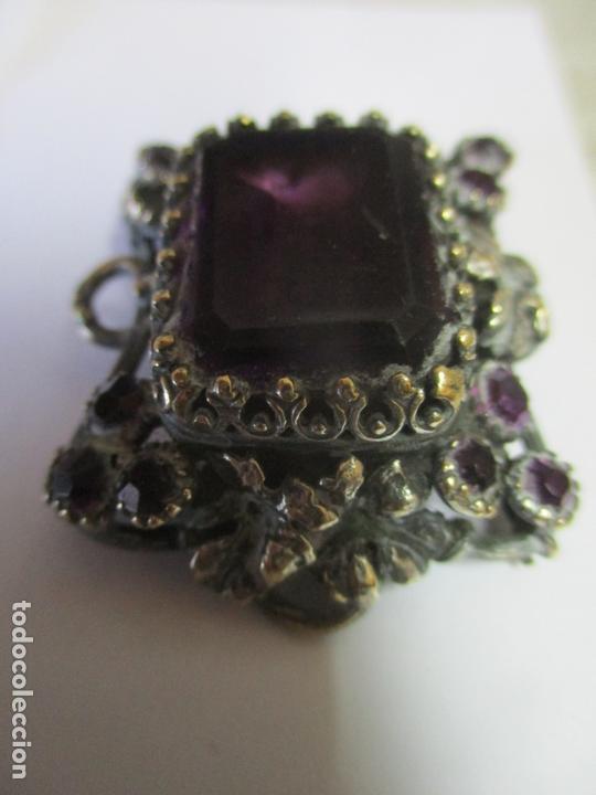 Antigüedades: Preciosa Joya - Colgante, Relicario - Plata de Ley - Amatista - S. XVIII - Foto 2 - 167430180