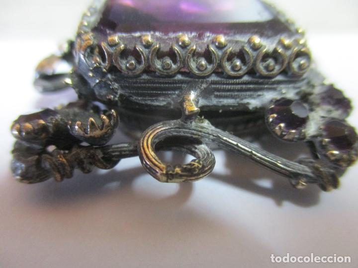 Antigüedades: Preciosa Joya - Colgante, Relicario - Plata de Ley - Amatista - S. XVIII - Foto 4 - 167430180