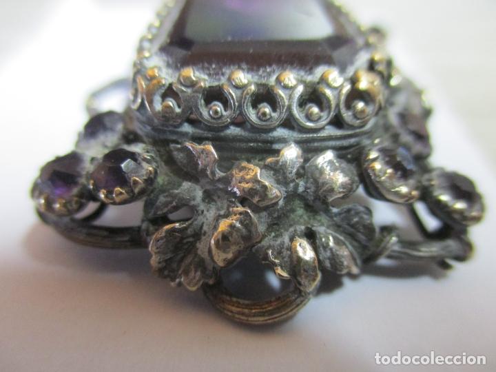 Antigüedades: Preciosa Joya - Colgante, Relicario - Plata de Ley - Amatista - S. XVIII - Foto 6 - 167430180