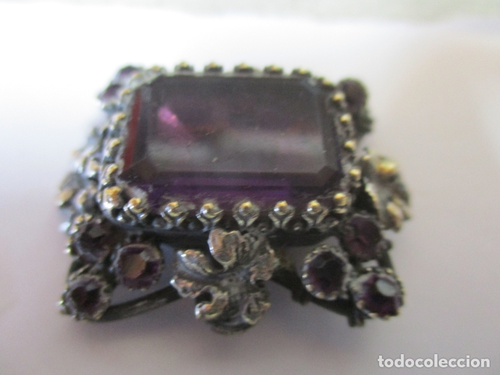 Antigüedades: Preciosa Joya - Colgante, Relicario - Plata de Ley - Amatista - S. XVIII - Foto 8 - 167430180
