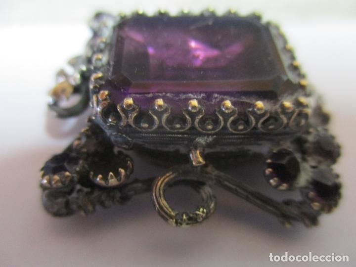 Antigüedades: Preciosa Joya - Colgante, Relicario - Plata de Ley - Amatista - S. XVIII - Foto 15 - 167430180