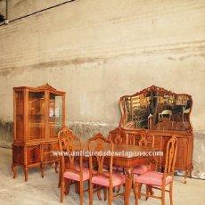 Antigüedades: COMEDOR ANTIGUO DE MADERA TALLADA A MANO. Lote 167430648