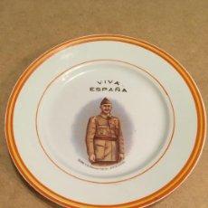 Antigüedades: PLATO CON LA IMAGEN DE FRANCISCO FRANCO. Lote 167482064