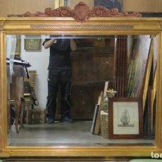 Antigüedades: MAGNIFICO ESPEJO DE MADERA EN PAN DE ORO SIGUIENDO MODELOS RENACENTISTAS. SIGLO XX. Lote 167492808