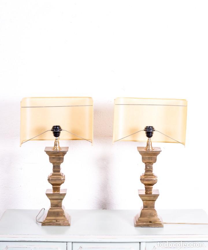 Antigüedades: Pareja De Lámparas De Sobremesa Vintage - Foto 2 - 167501120