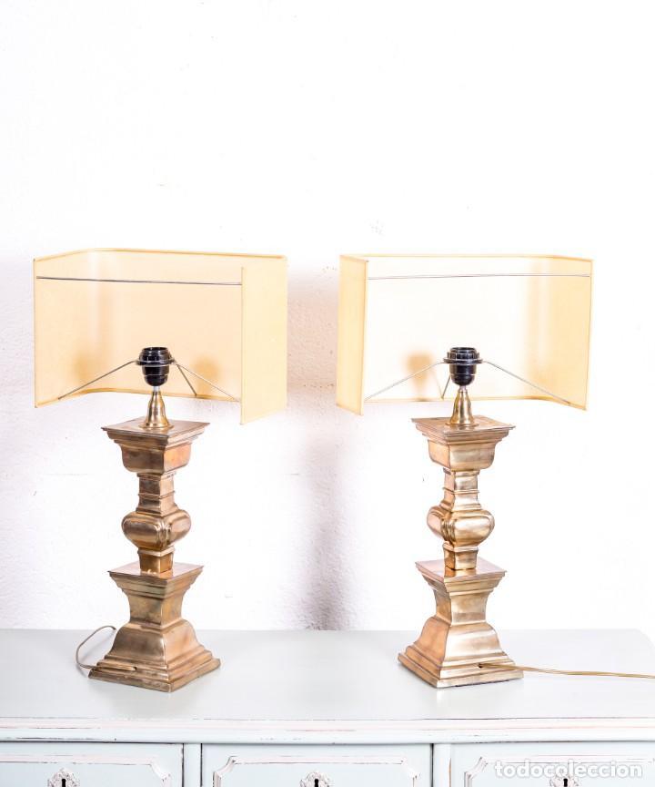 Antigüedades: Pareja De Lámparas De Sobremesa Vintage - Foto 3 - 167501120