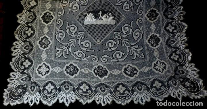 ANTIGUA COLCHA DE ENCAJE MANUAL - S. XIX (Antigüedades - Hogar y Decoración - Colchas Antiguas)