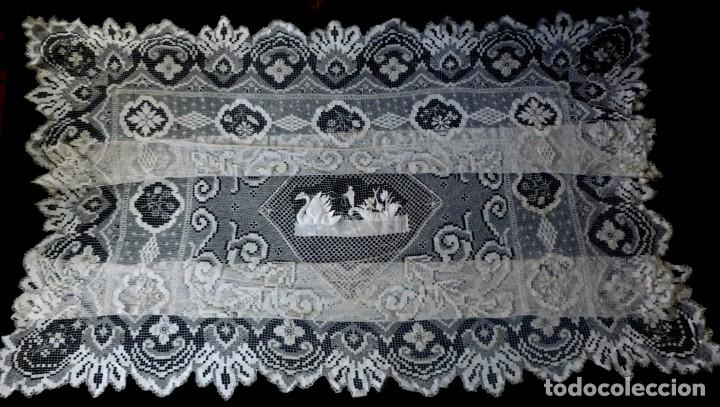 Antigüedades: ANTIGUA COLCHA DE ENCAJE MANUAL - S. XIX - Foto 4 - 167506872