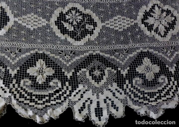 Antigüedades: ANTIGUA COLCHA DE ENCAJE MANUAL - S. XIX - Foto 6 - 167506872