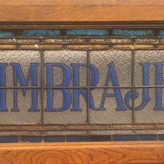 "Antigüedades: ROTULO BARCELONA MODERNISTA 1900 LETRERO CASA FEYTO IMPRENTA PLAZA REAL ""TIMBRAJES"" CRISTAL ARTESANI. Lote 167513793"