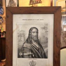 Antigüedades: LITOGRAFÍA ANTIGUA DEL VERDADERO RETRATO DE JESUCRISTO CON EXPLICACIONES RASGOS, MARCO DE NOGAL. Lote 167516456