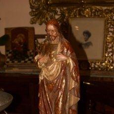 Antigüedades: SAGRADO CORAZÓN TALLA DE MADERA POLICROMADA. Lote 167518388