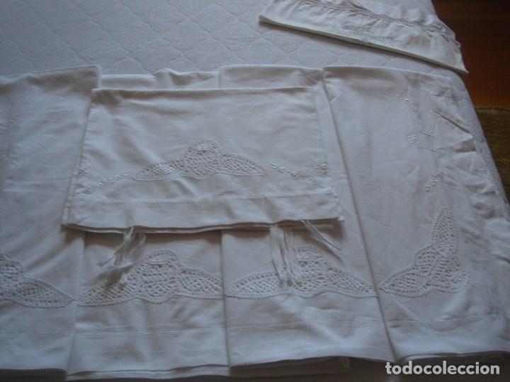 Antigüedades: juego de cama de hilo modernista con aplicacioes de encaje,para cama pequeña (1) - Foto 10 - 117447571