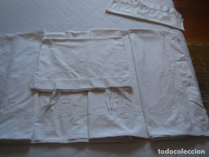 Antigüedades: juego de cama de hilo modernista con aplicacioes de encaje,para cama pequeña (1) - Foto 11 - 117447571