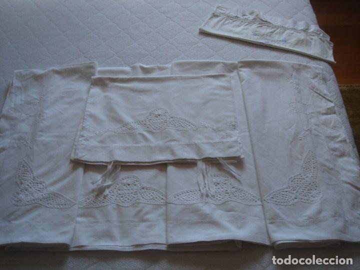 Antigüedades: juego de cama de hilo modernista con aplicacioes de encaje,para cama pequeña (1) - Foto 12 - 117447571