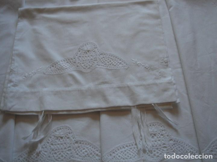 Antigüedades: juego de cama de hilo modernista con aplicacioes de encaje,para cama pequeña (1) - Foto 13 - 117447571