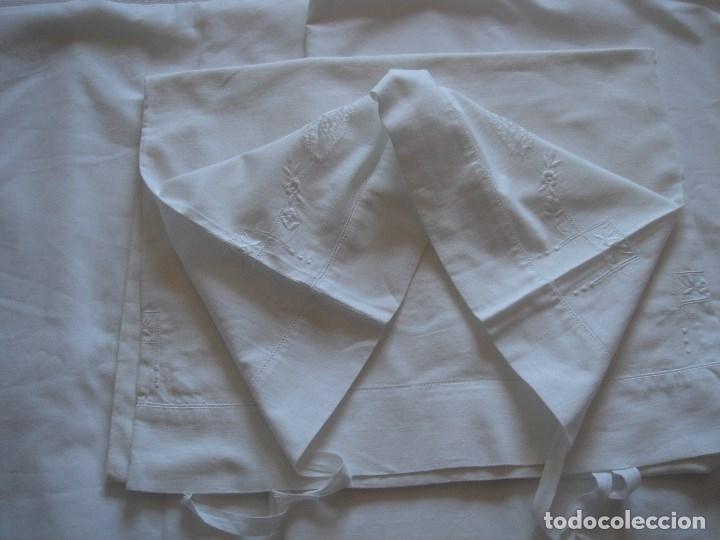 Antigüedades: juego de cama de hilo modernista con aplicacioes de encaje,para cama pequeña (1) - Foto 16 - 117447571
