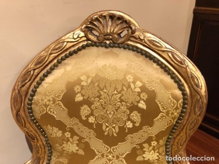 Antigüedades: Chaise Longue. Sofá madera tallada y dorado - Foto 3 - 167590672