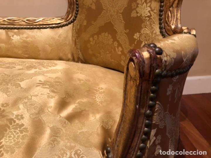 Antigüedades: Chaise Longue. Sofá madera tallada y dorado - Foto 5 - 167590672