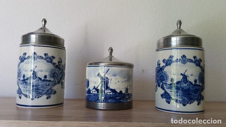 CONJUNTO DE TARROS DE COCINA DE PORCELANA HOLANDESA DELF,TAPAS METAL ,HANDPAINTED DELF MAD IN HOLLAN (Antigüedades - Porcelana y Cerámica - Holandesa - Delft)