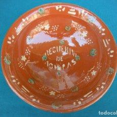 Antigüedades: CERÁMICA POPULAR. LEBRILLO LA BISBAL, RECUERDO. Lote 167623672