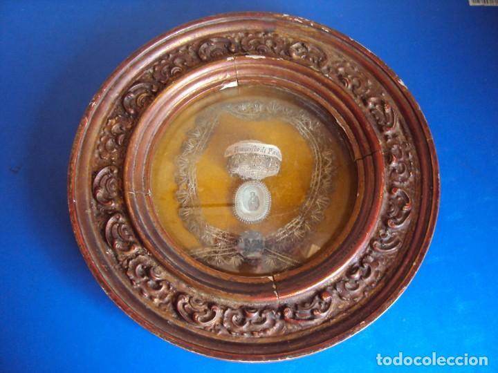 (ANT-190610)ANTIGUO RELICARIO DE SAN FRANCISCO DE PAULA - MARCO Y CRISTAL (Antigüedades - Religiosas - Relicarios y Custodias)
