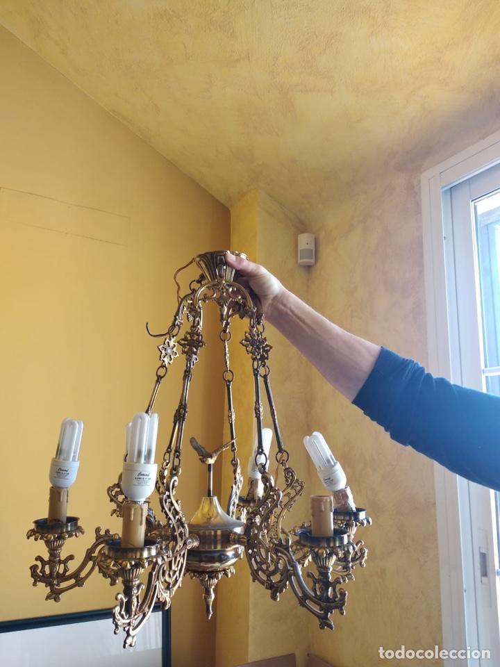 BONITA LÁMPARA ANTIGUA EN BRONCE (Antigüedades - Iluminación - Lámparas Antiguas)
