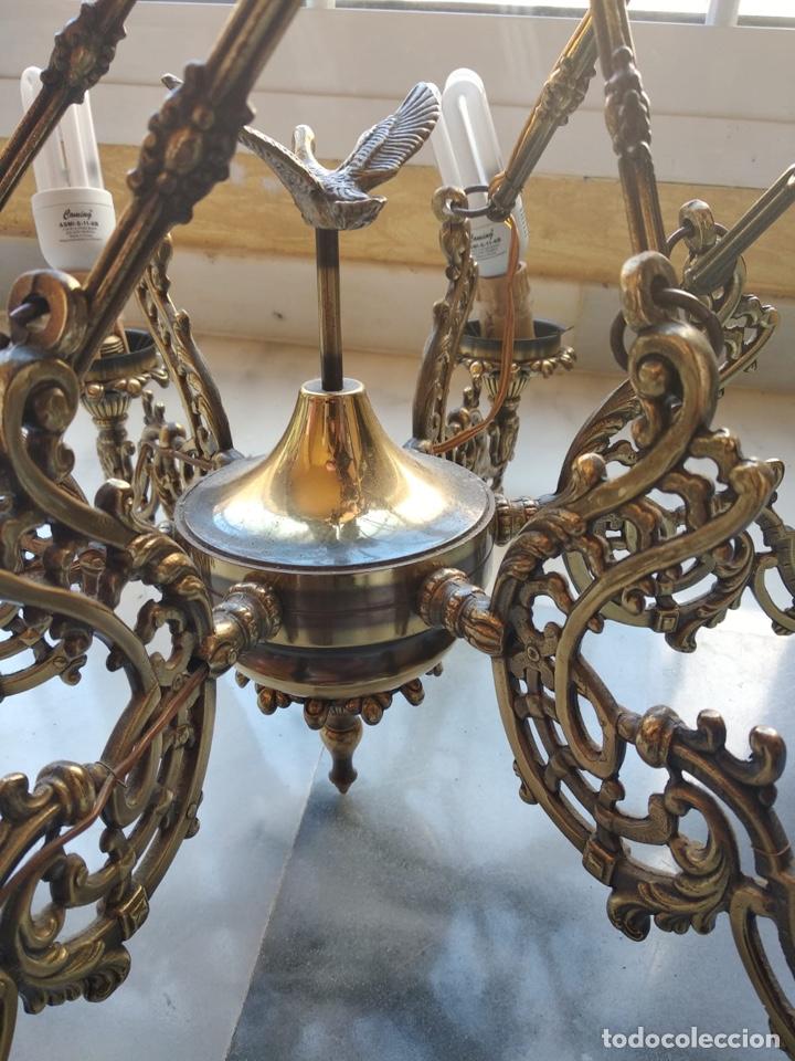 Antigüedades: Bonita lámpara antigua en bronce - Foto 2 - 167673692
