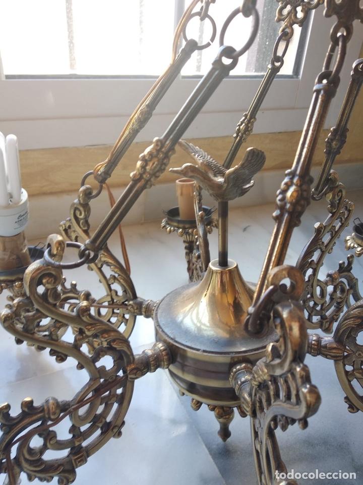 Antigüedades: Bonita lámpara antigua en bronce - Foto 7 - 167673692