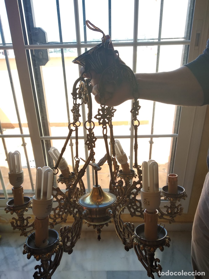 Antigüedades: Bonita lámpara antigua en bronce - Foto 10 - 167673692