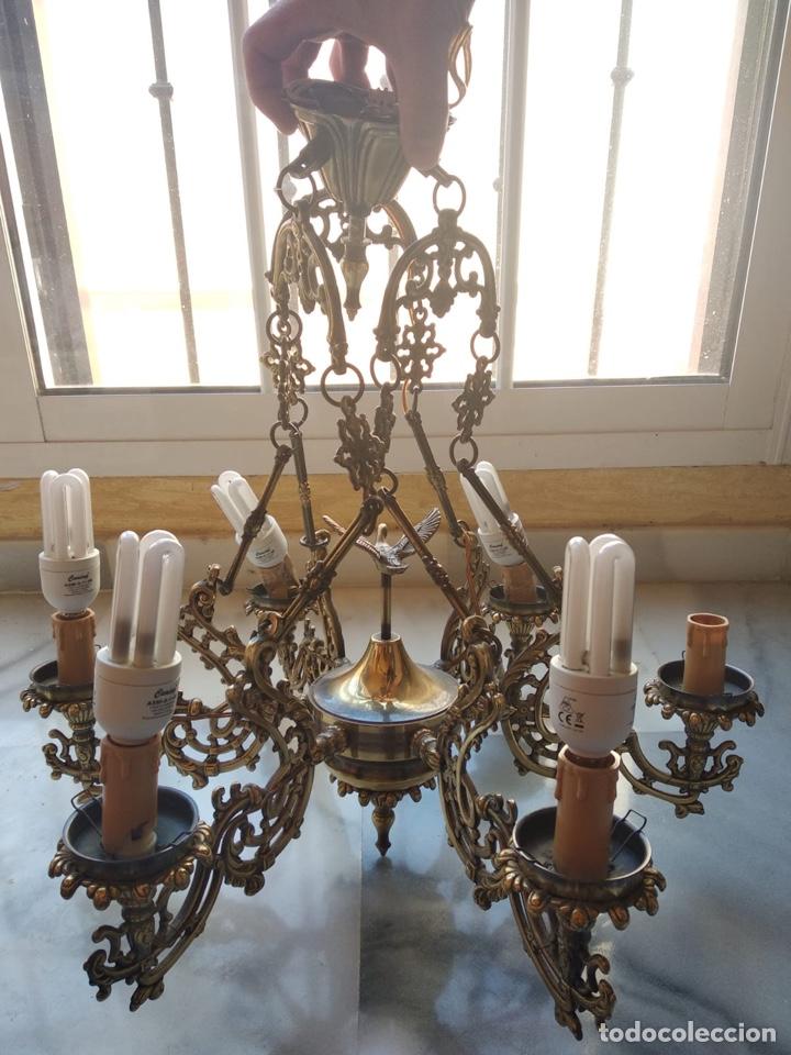 Antigüedades: Bonita lámpara antigua en bronce - Foto 11 - 167673692