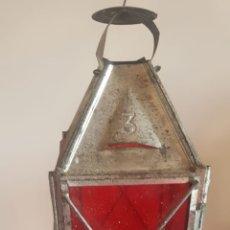Antiquitäten - Farol farolillo de hojalata para velas cristales pintados rojos Farol farolillo de hojalata - 167730646