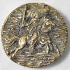 Antigüedades: PISAPAPELES EN BRONCE, MEDIO RELIEVE, SANTIAGO APÓSTOL, 8 CM., 475 GRAMOS. Lote 167775916