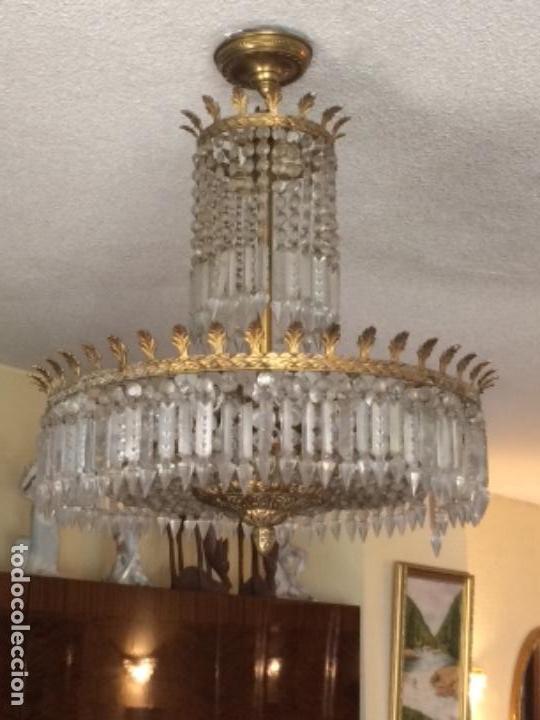 LÁMPARA DE CRISTALES Y BRONCE (Antigüedades - Iluminación - Lámparas Antiguas)