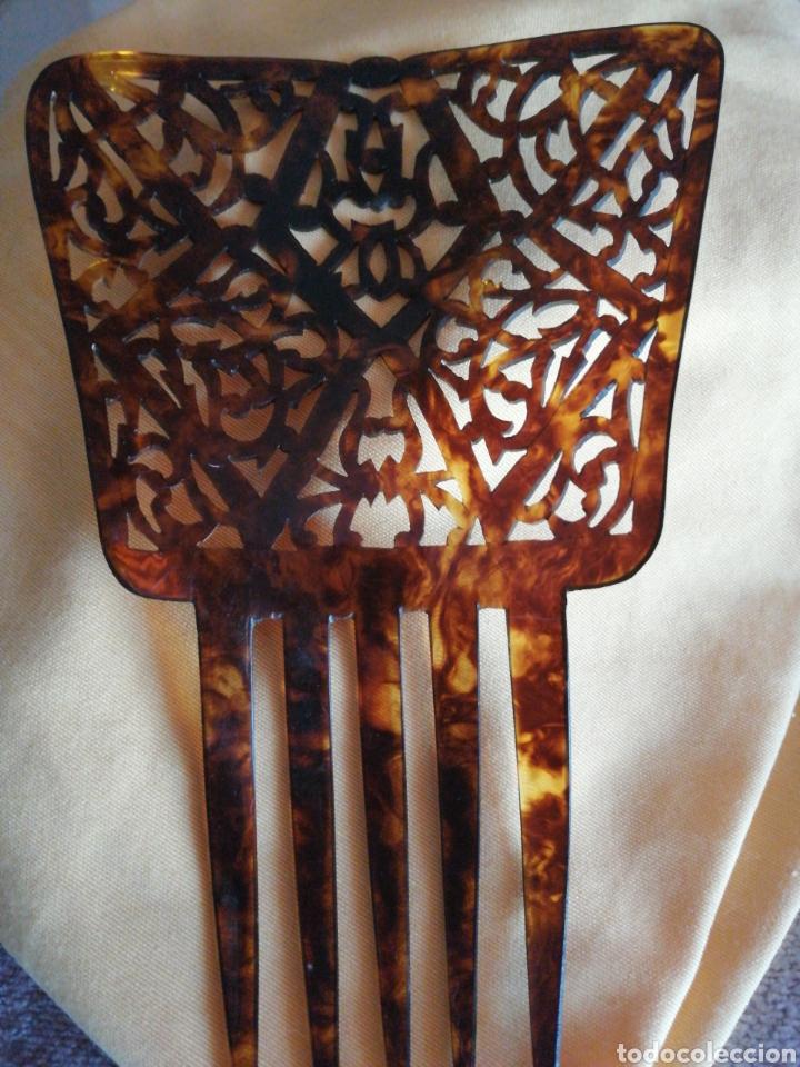 Antigüedades: Peineta calada a mano años 30 - Foto 2 - 167783549