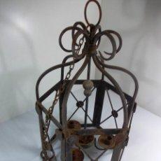 Antigüedades - Antigua lampara de forja tipo farol para velas - 167785064