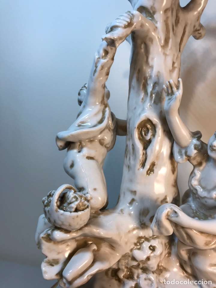 Antigüedades: Lámpara Porcelana- S. Mallol- Figura Árbol- 50 cm - Foto 6 - 167800249